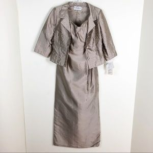 Montage by Mon Cheri Silk Evening Dress Taupe 12